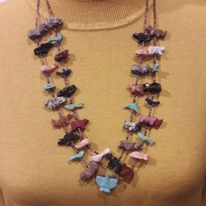 Vintage Zuni 2 Strand Fetish Animal Necklace